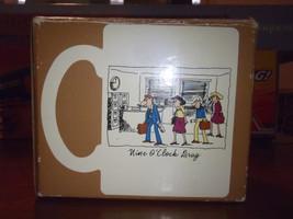 Vintage Hallmark 'Nine O'clock Drag Five O'clock Dash Coffee Tea Mug Japan Box - $23.08