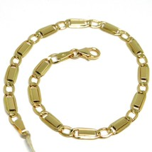 Bracelet Yellow Gold 18K 750, Jersey Flat Rectangular and Oval Alternati... - $308.71