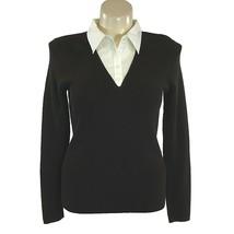 NEW Ralph Lauren 1X Plus Top Knit Shirt Brown White Collar Long Sl Work ... - $49.95