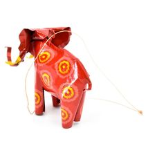 Handcrafted Painted Colorful Recycled Aluminum Tin Can Elephant Ornament image 3