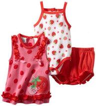 Baby Togs Baby Girls Newborn Strawberry 3 Piece Short Set - $22.00