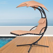Outdoor Floating Chaise Lounge Chair & Stand Hanging Lounger Seat with S... - £136.68 GBP