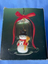Vintage New Design Lil Chimers Crystal Glass Bell Tree Ornaments Snowman... - $10.99