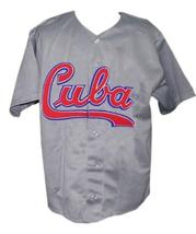 Custom Name # Team Cuba Retro Baseball Jersey Button Down Grey Any Size image 3