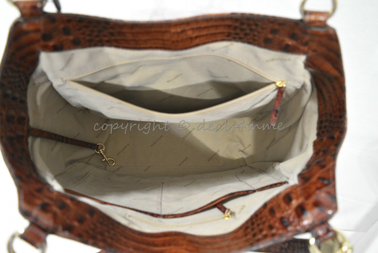 NWT Brahmin Marianna Leather Tote / Shoulder Bag in Pecan Melbourne image 6