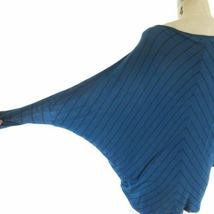 S - Velvet Blue & Black Chevron Patterned Knit Slouchy Fit Shirt Top 0921KW image 4