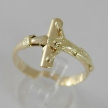 SOLID 18K YELLOW GOLD BAND RING WITH JESUS CROSS LUMINOUS SMOOTH, MADE IN ITALY image 1