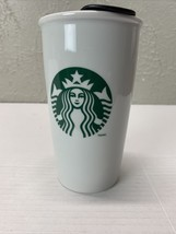 Starbucks 2014 Ceramic Travel Tumbler Mug With Lid 12oz Mermaid Siren Logo - $13.98