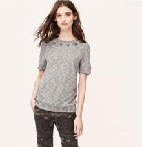 Ann Taylor LOFT Gray Petite Embellished Sweatshirt Tee Size Small Petite - $22.28