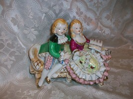 imperfect THAMES ART POTTERY JAPAN FRECH PROVENCIAL COUPLE FIGURINE RUFF... - $14.84