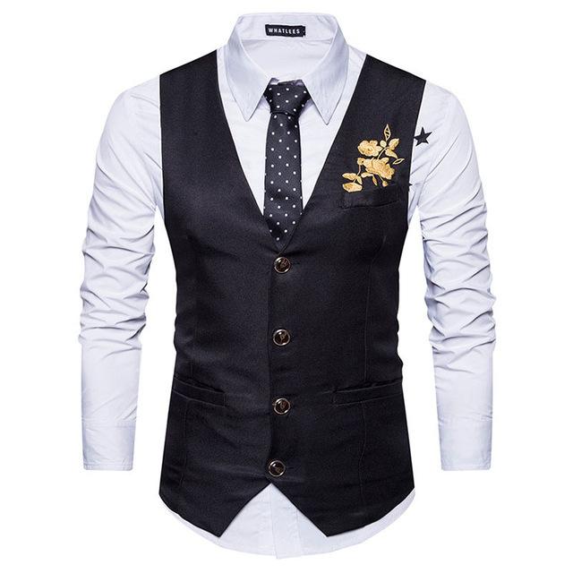 men classic v neck suit vest gilet embroidery waistcoat business wedding vest vests. Black Bedroom Furniture Sets. Home Design Ideas