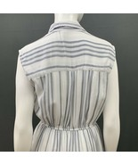 Sleeveless Dress Size Medium Blue White Elastic Waist Button Front Rayon... - $15.00