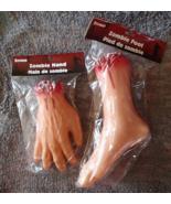 Zombie Foot Hand Set 2 Body Part Sick Bloody Severed NIP Halloween Horro... - $11.99