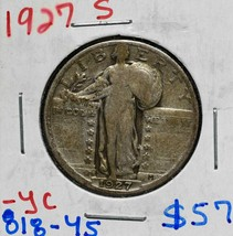 1927S Standing Liberty Silver 25¢ Quarter Coin Lot 818-45
