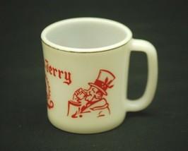 Old Vintage Hazel Atlas Tom & Jerry White Milk Glass Christmas Egg Nog Mug Cup G - $8.90