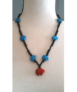 Bear Necklace with Howlite Bears and Obsidian Beads Zuni Style Boho Chic - $28.71