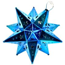 "Small 6.5"" Hanging Tin Indigo Blue Mexican Moravian Star Ornament Decoration image 6"