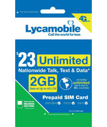 Lycamobile $23 Plan Prepaid 1st Month Free SIM Card 2GB 4G Unlimited Tal... - $10.88