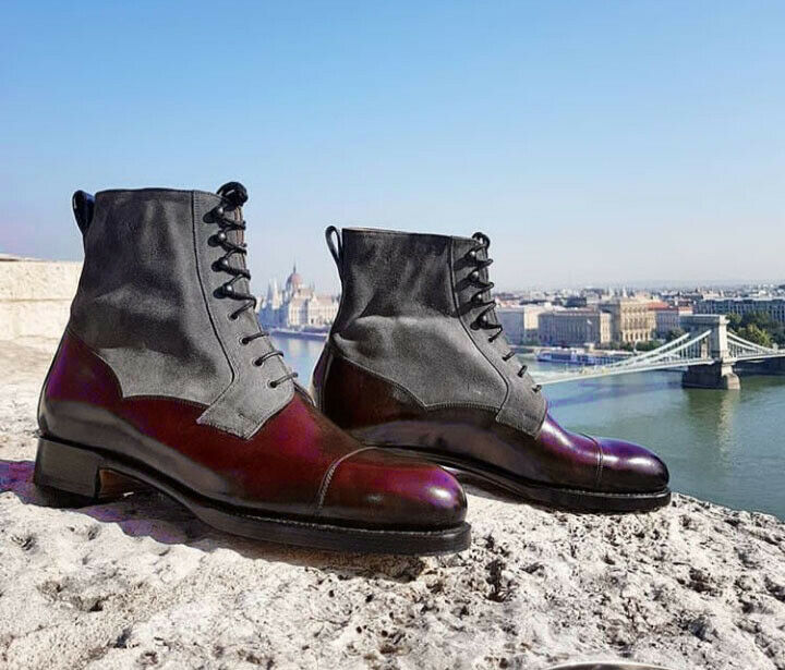 Superior Genuine Leather Maroon Gray Rounded Cap Toe High Ankle Casual Men Boots
