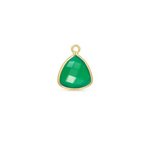 Primary image for Drop, Green Onyx Faceted Triangle, Gold Plated Sterling Silver,14mm, 1pc(9457)/1