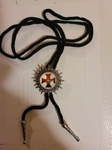 Knights Templar Bolo Necklace Tie  - Red Cross White Background with Emblem image 2