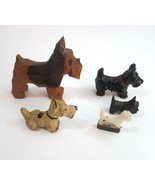 Lot of 5 Mini Vintage Scottie Scottish Terrier Dogs - Hand Carved Wood -... - $11.99