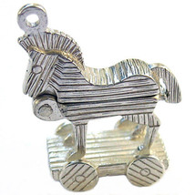 Sterling 925 British Silver Trojan Horse Rings or Clip Charm by Welded Bliss - $23.32