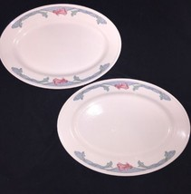 BUFFALO CHINA PINK FLOWER IRIS ORCHID FLORAL BLUE RESTAURANT WARE 2 Plat... - $29.69
