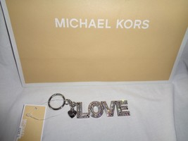 MICHAEL KORS KEY CHARMS PAVE RHINESTONE STUDDED LOVE SILVER FOB RING BAG... - $25.74