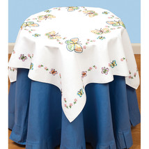 """Jack Dempsey Stamped White Perle Edge Table Topper 35""""X35""""-Fluttering Bu... - $14.86"""