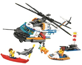 Coast Guard Heavy-Duty Rescue Helicopter building blocks compatible with... - $54.90