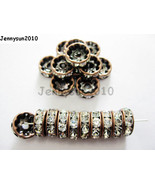 100Pc Czech Crystal Rhinestone Copper Rondelle Spacer Beads 4mm 5mm 6mm ... - $3.76+