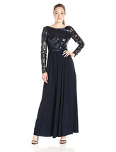 Vera Wang Women's Long Sleeve Open Back Bodice Gown, Navy, 2 - $69.29