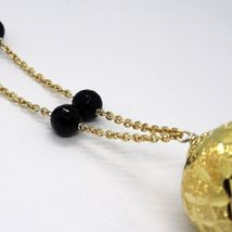 Necklace Silver 925, Yellow, Big Sphere Worked, Waterfall Onyx Black image 6