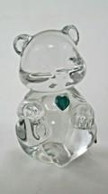Fenton Glass Birthstone May Birthday Bear Emerald Green Heart. EUC - $14.85
