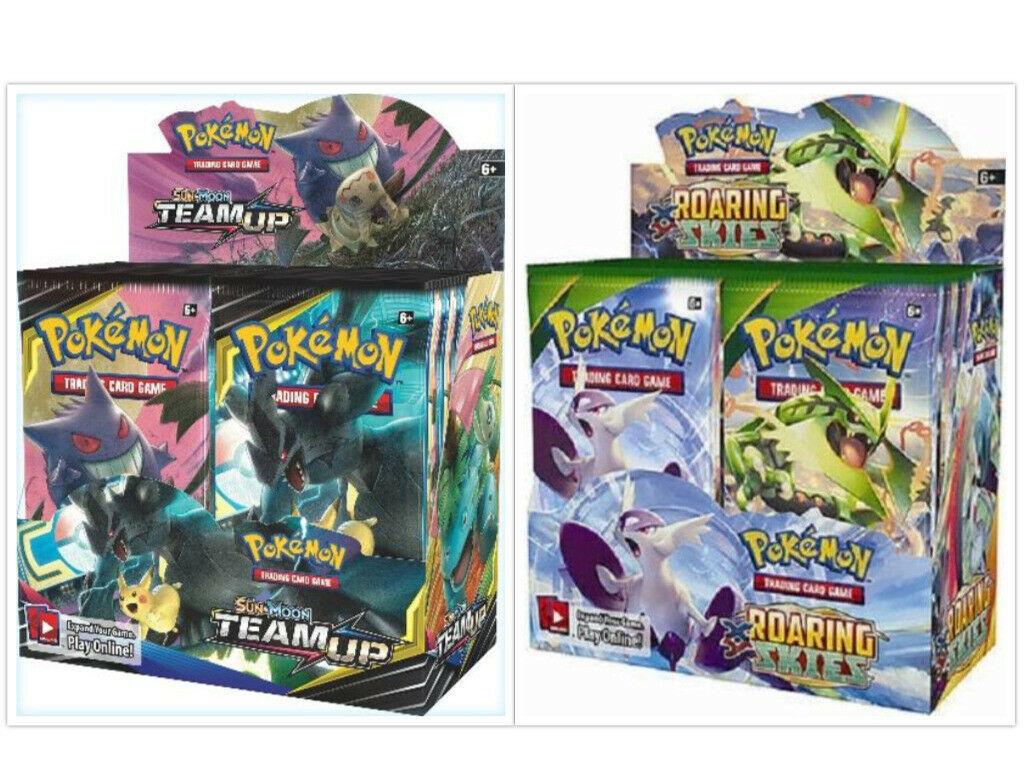 Pokemon TCG Sun & Moon Team Up + Roaring Skies Booster Box Bundle