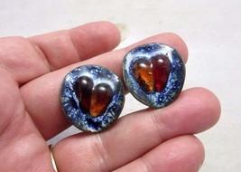 Vintage Mid Century copper enamel clip earrings - $8.99
