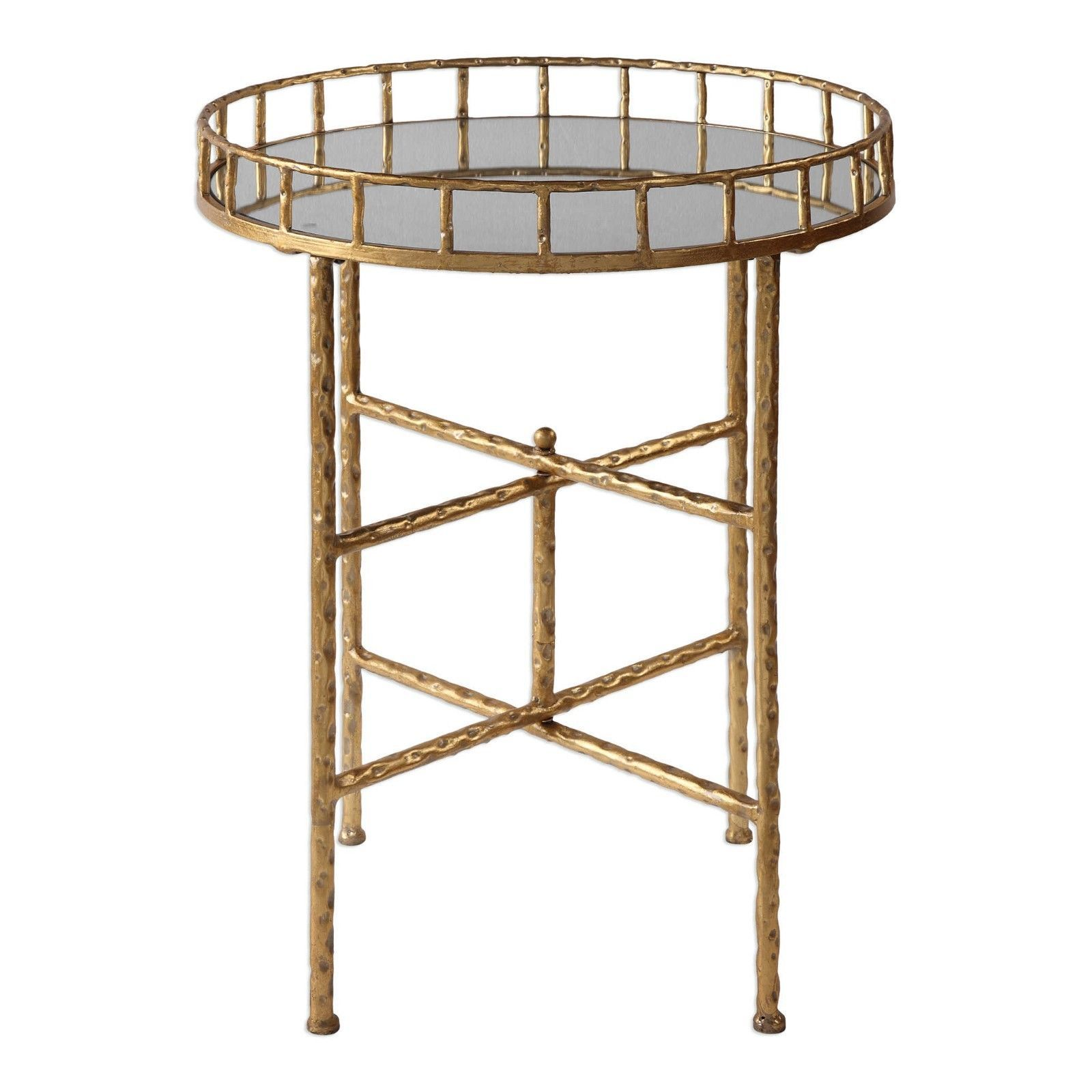Primary image for Cross Bar Tray Side Table Antique Gold 26H Mirror Top End Hammered Metal Round