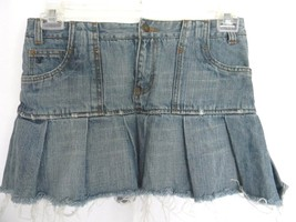 American Eagle Size 2 Mini Jeans Skirt Pleated Raw Hem Juniors Denim Skirt - $10.88