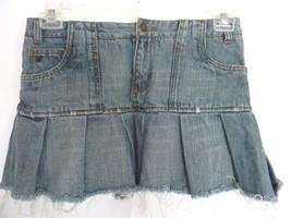 American Eagle Size 2 Mini Jeans Skirt Pleated Raw Hem Juniors Denim Skirt - $14.63 CAD