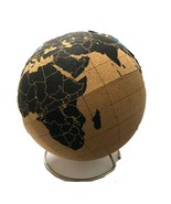 Cork Globe - Large With World Map Colors Brown and Black - $21.78