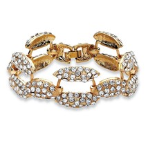 PalmBeach Jewelry Pave Crystal Panther Link Bracelet in Yellow Gold Tone - $9.49