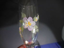 "Hand Painted Champagne Glasses Purple Flowers Lavendar Violet Signed EK 8"" - $9.99"