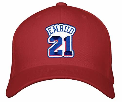 Joel Embiid Hat - Philadelphia Basketball Adjustable Cap (Red)