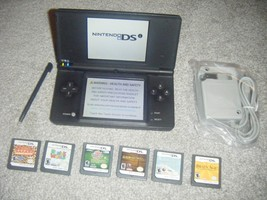 Nintendo DSi BLACK MATTE Handheld System Console Lot of 6 Games ds - $54.13