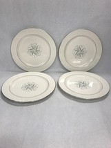 4 dinner plate 10 in HOMER LAUGHLIN Vintage eggshell cavalier Celeste Blue grey - $49.49