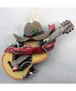 Western Cowboy at Heart Hat Guitar Christmas Ornament Lights Country Mid... - $9.89