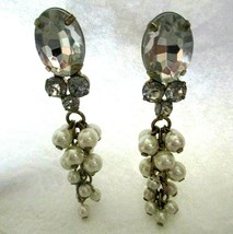 "Cha Cha Cluster Rhinestone Faux Pearl  Dangle Post Earrings  2.5""  Gold ... - $19.79"