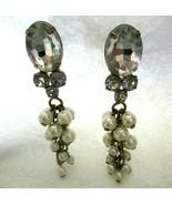 """Cha Cha Cluster Rhinestone Faux Pearl  Dangle Post Earrings  2.5""""  Gold ... - $19.79"""