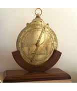 ARMILLARY / ASTROLABE IN HEAVY THICK BRASS ON TEAKWOOD STAND. FRENCH° BI... - $117.99